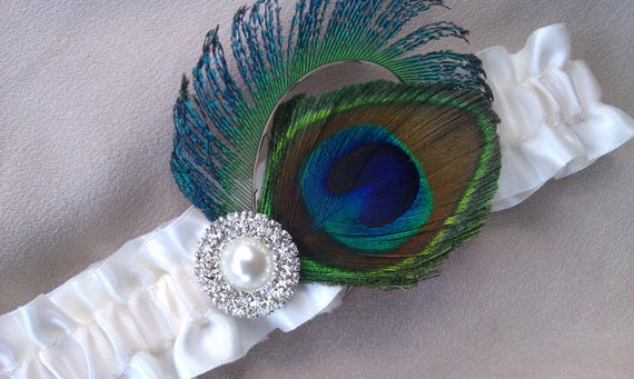 Peacock Feather Garter Ivory Rhinestone Pearl Accented Bridal Wedding