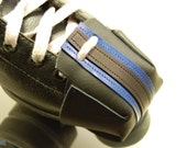 Black leather Skate Snout toe guards with Royal Blue Pivot Stripes
