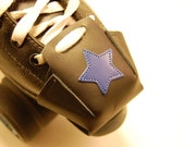 Black leather Skate Snout toe guards with Royal Blue Stars