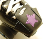 Black leather Skate Snout toe guards with Purple Jammer Stars