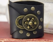 Steampunk Cuff, Black Leather Cuff Bracelet with Brass Turn Lock Buckle