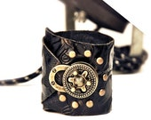 Steampunk Cuff, Black Embossed Rose Leather Bracelet with Antique Brass Lock