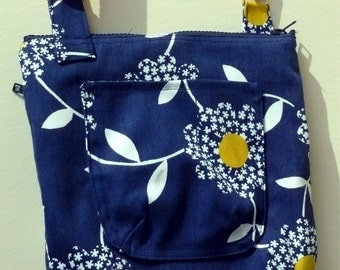 Original Handmade Blue and White Daisy Cotton Fabric Crossbody Purse