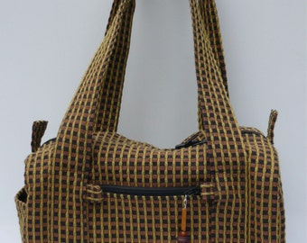 ON SALE  Original Handmade Black & Gold Checkered Fabric Duffel Purse