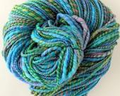 Handspun Yarn - Hand Dyed Merino Wool Silk Yarn - Pool Party