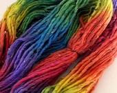 Hand Dyed Bulky Tweed Wool Yarn - Rainbow Sherbert