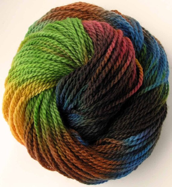 Hand Dyed  Worsted Wool Yarn-  Mirage