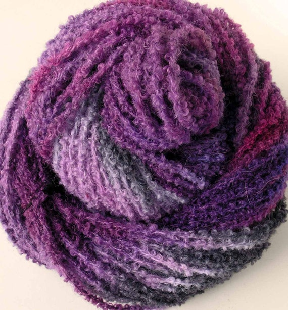 Hand Dyed Alpaca Boucle Bulky Yarn Plum Pudding by FiberFusion