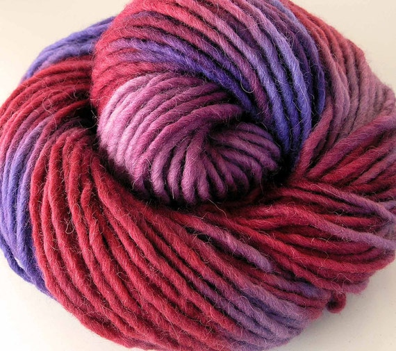 Hand Dyed Bulky Wool Alpaca Roving Yarn- Raspberry Ice