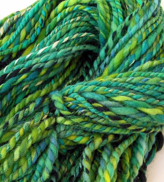 Handspun Yarn Hand Dyed Merino Wool Silk  Bulky Yarn - Emerald Shamrock