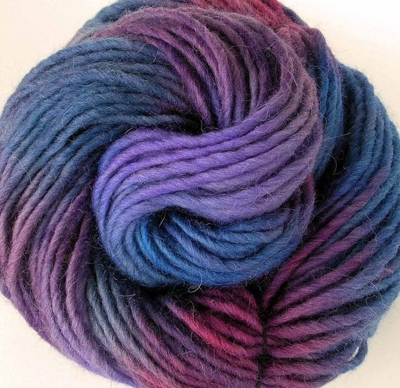 Hand Dyed Bulky Wool Alpaca Roving Yarn- Berry Pie