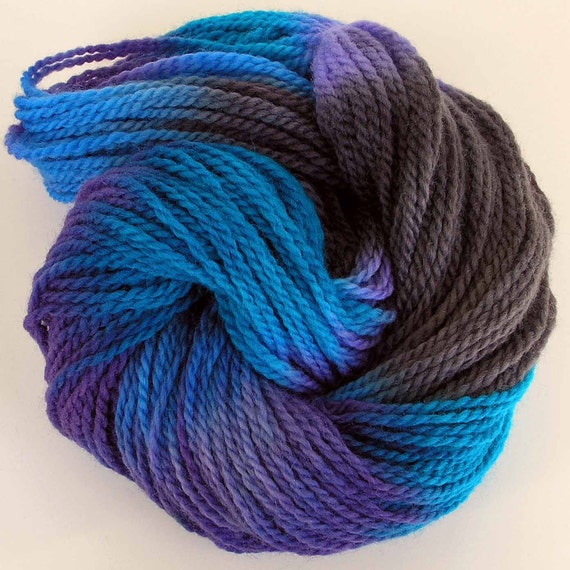 Hand Dyed Worsted Wool Yarn - Ice Blue