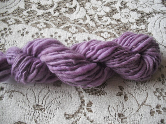 Thick and Thin Handspun Yarn, Lavender,  46 yds