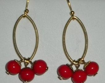 Hanging in Red Earrings