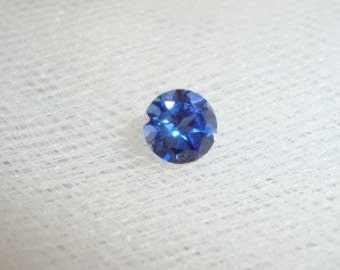 One Lab Created Blue Sapphire - VVS to IF - 5mm - .6 ct