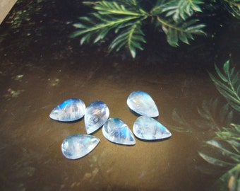 Rainbow moonstone cabochons 5x8 mm AAA  color - Pair of 2 - pear or tear shape cab Extra nice quality