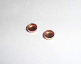 Teeny 10k rose or yellow gold bezel cups - solid gold - 2mm - 2 pieces