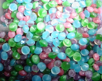 glass moonstone rhinestones Pointed back, buff top 4mm & 5mm from 1950's Mix colors Pink Blue Green Purple - about 30 pieces
