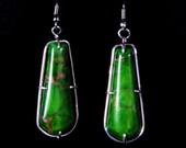 Green Turquoise silver Earrings