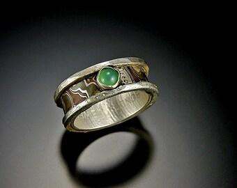 Original design Mokume Gane Ring with Green Chrysoprase