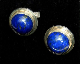 Lapis Cuff Links in Sterling Silver