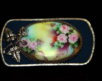 Victorian hand painted floral Belt Buckle