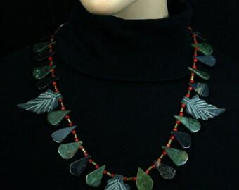 Jade leaf necklace