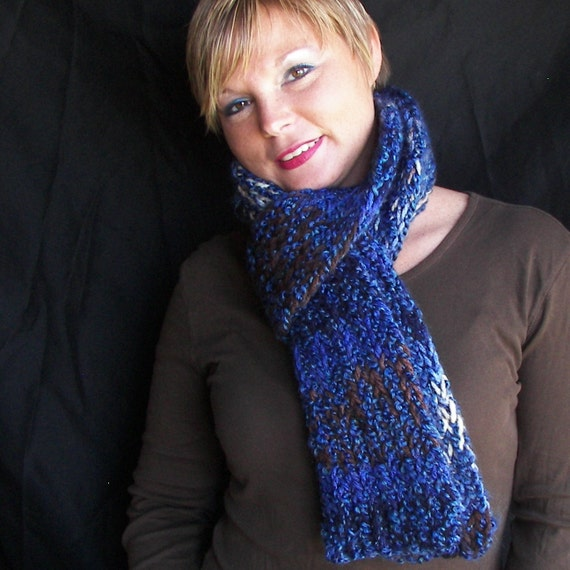 Women's Winter Scarf in Dark Blue and Brown