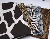 Take Extra 10% off- Animal print fabrics - SIX large and small fabric pieces - Quilting weight and home decor weight