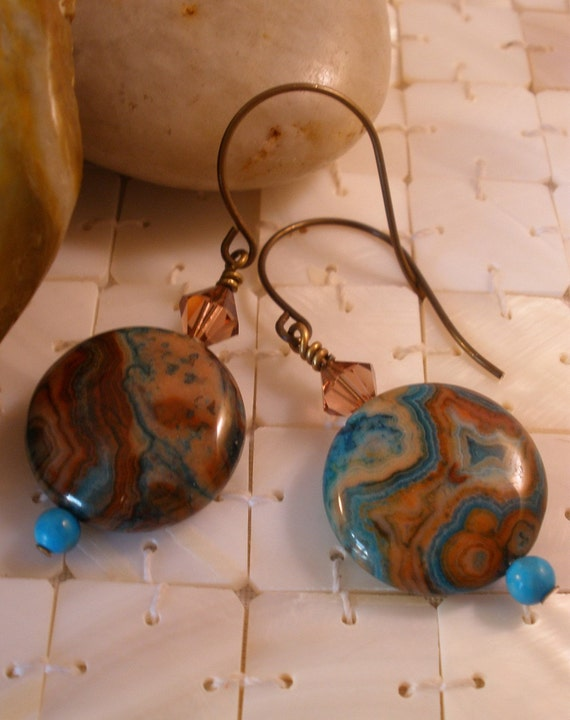 Mocca Latte -- Crazy Lace Agate, Swarovski Crystal, and Turquoise Earrings on Antiqued Brass