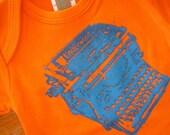 SALE organic typewriter onesie, 3-6m, long sleeve SALE