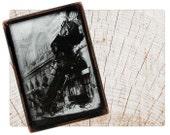 Handmade Copper Mirror / Pocket Mirror / Purse Mirror /  1800s Train Wreck through Building Steampunk