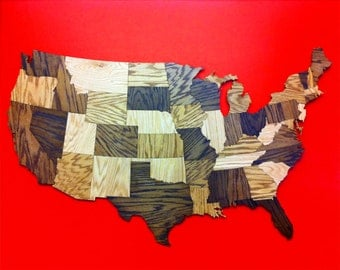 HUGE 5' Wood USA Map Wall Decoration Sculpture, Rustic Decor, Road Trip, Travel, Large Art, Wooden Wall Art, Wall Hanging, Geography, Puzzle