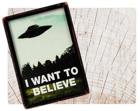 Handmade Copper Mirror / Pocket Mirror / Purse Mirror /  X-Files Fox Mulder Poster UFO Alien I Want to Believe