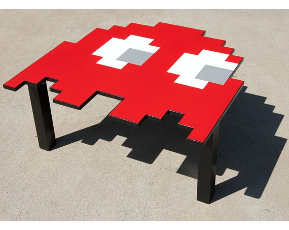 "Pac-Man Ghost Table Small Red End Table (RESERVED for raymondebidochon) 22""x20"""