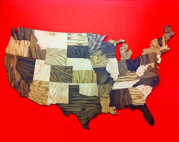 Huge 5' Wood Usa Map Wall Decoration Sculpture Rustic
