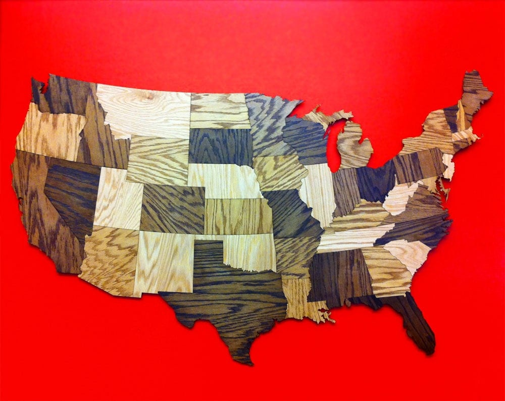 🔎zoom. huge ' wood usa map wall decoration sculpture rustic