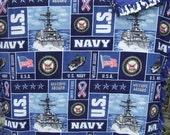 Beautiful US Navy Hand-Tied Soft Reversable Fleece Blanket