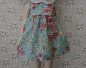 Aqua Blossom Vintage Girl Dress