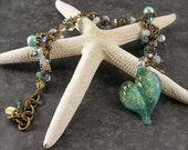 Poseidon's Gift from the Sea, Dicroic Heart, cluster Charm Bracelet, lampwork beads, sea green, aqua, charm bracelet, by Xanna