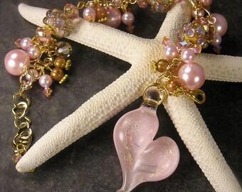 Effervescence,  Lampwork Bracelet, Pink Bracelet, Heart Charm bracelet, Chunky Charm Bracelet, Shabby Chic bracelet, Wedding bracelet