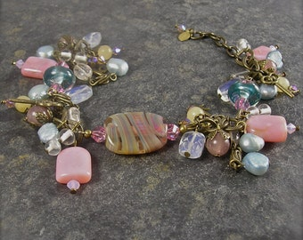 Dreaming in Baby Blue and Pink Lampwork Charm Bracelet, chunky charm bracelet, shabby chic style, created by Xanna