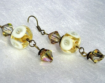 Lampwork Earrings,  Owl Eye earrings, Ivory earrings, off white earrings, light yellow earrings, crysatal earrings, designed by Xanna
