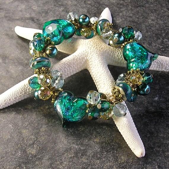 Wearing My Heart on My Sleeve, stretchy bracelet, Chunky Charm bracelet, Lampwork heart beads, teal, green, by Xanna's Jewelry Box