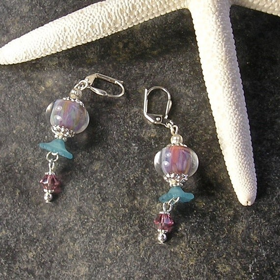 Breath of Spring,  Lampwork Earrings, Lever back earrings, Lucite flower earrings, lavender and aqua earrings, by Xanna's Jewelry Box