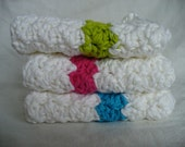 Crocheted Dish Cloths in Pink, Green and Blue & FREE Scrubby