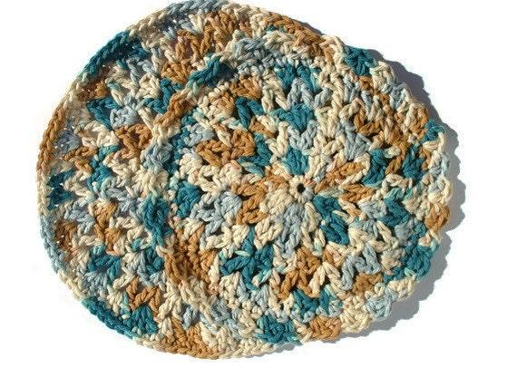 CLOSING SHOP SALE: Teal Round Dish Cloth Set