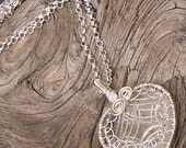Quartz Necklace Heart Pendant Sterling Silver Handcrafted Wire Wrapped Net Crystal Quartz