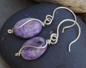 Purple Earrings Pearly Charoite Wire Wrapped Curves Handcrafted Sterling Silver
