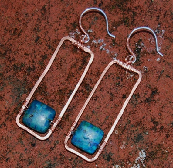 Hammered Copper Earrings Green Blue Azurite Natural Stone Hoop Frame Sterling Silver Earwires Mixed Metal